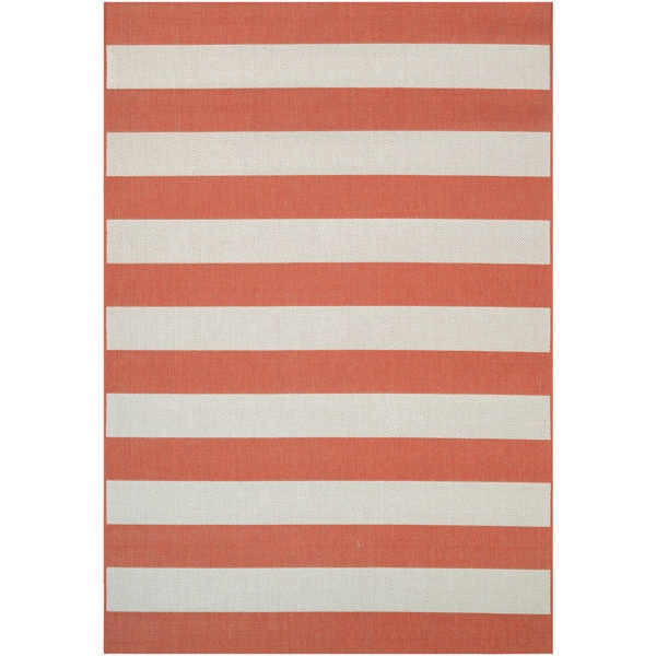 "Couristan Afuera Yacht Club/ Pumpkin-ivory Indoor/Outdoor Rug - 9'2"" x 12'5"""
