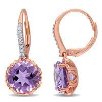 Miadora 10k Rose Gold Amethyst and 1/10ct TDW Diamond Earrings (G-H, I2-I3)