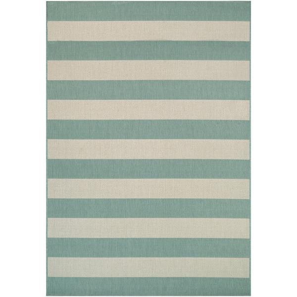 """Hampton Striped Green-Cream Indoor/Outdoor Area Rug - 9'2"""" x 12'5"""""""