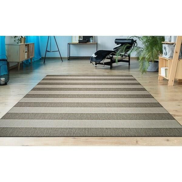 """Hampton Striped Beige-Cream Indoor/Outdoor Area Rug - 9'2"""" x 12'5"""""""