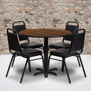 36-inch Round Walnut Laminate Table Set with Four (4) Black Trapezoidal Back Banquet Chairs