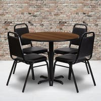 36'' Round Laminate Table Set with 4 Trapezoidal Back Banquet Chairs