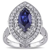 Miadora Sterling Silver Created Blue and White Sapphire Ring
