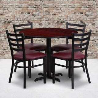 36-inch Round Mahogany Laminate Table Set with Four (4) Burgundy Vinyl Seat Ladder Back Metal Chairs