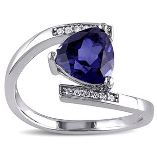 Miadora Sterling Silver Created Blue Sapphire and Diamond Accent Bypass Ring