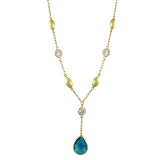 Luxiro Brushed Gold Finish Cubic Zirconia Teardrop Y Necklace