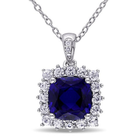 Miadora Sterling Silver Created Blue and White Sapphire Diamond Accent Halo Necklace