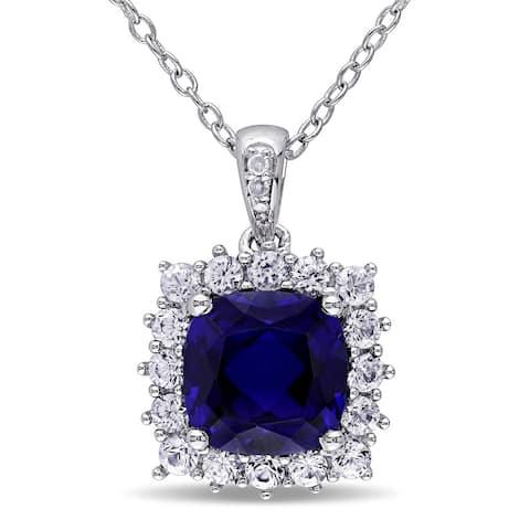 Miadora Sterling Silver Created Blue and White Sapphire Diamond Accent Halo Necklace