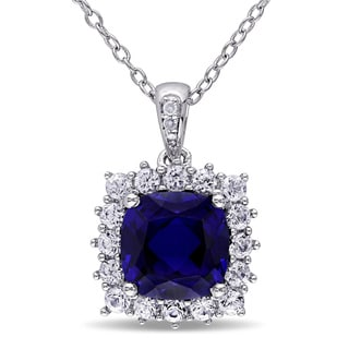 Miadora Cushion-Cut Created Blue and Created White Sapphire with Diamond Accents Halo Necklace in Sterling Silver (G-H, I2-I3)
