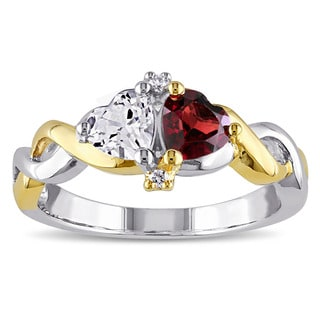 Miadora Two-tone Silver Multi-gemstone and Diamond Accent Heart Ring