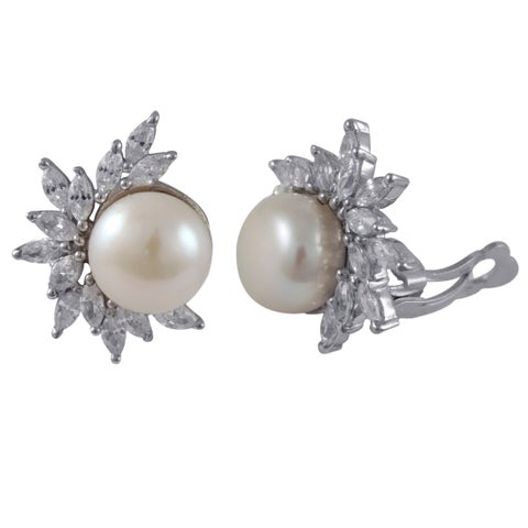 Luxiro Sterling Silver Cubic Zirconia Cluster Freshwater Pearl Clip-on Earrings