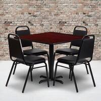36-inch Square Mahogany Laminate Table Set with Four (4) Black Trapezoidal Back Banquet Chairs