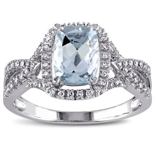 Miadora Signature Collection 10k White Gold Aquamarine and 1/6ct TDW Diamond Split Shank Ring