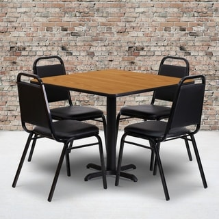 36-inch Square Natural Laminate Table Set with Four (4) Black Trapezoidal Back Banquet Chairs
