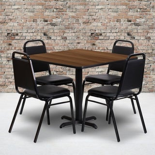 36-inch Square Walnut Laminate Table Set with Four (4) Black Trapezoidal Back Banquet Chairs