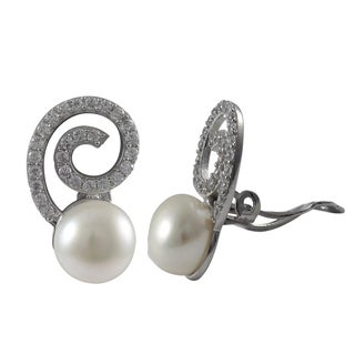 Luxiro Sterling Silver Cubic Zirconia Spiral Freshwater Pearl Clip-on Earrings