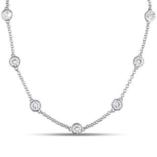 Miadora Sterling Silver Created White Sapphire Station Necklace