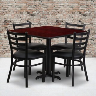 36-inch Square Mahogany Laminate Table Set with Four (4) Black Vinyl Seat Ladder Back Metal Chairs