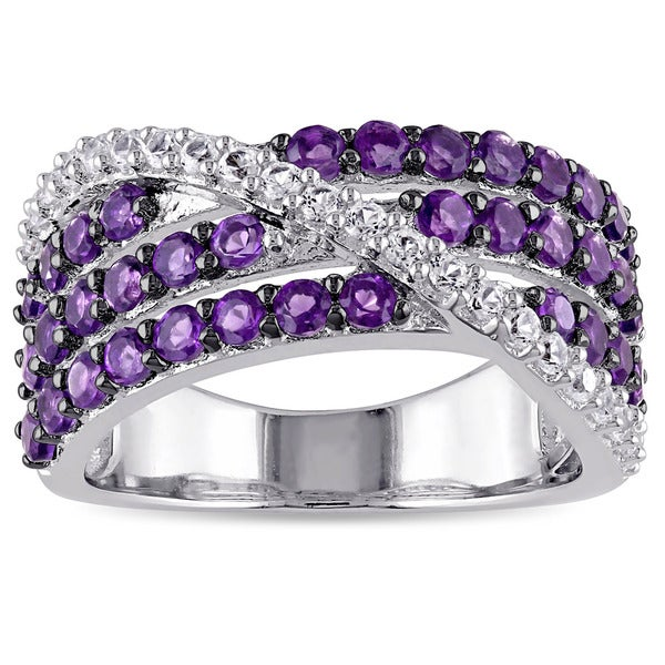Miadora Sterling Silver Amethyst-Africa and Created White Sapphire Ring