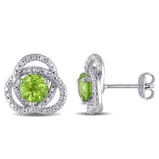 Miadora Sterling Silver Peridot and 1/10ct TDW Diamond Earrings (G-H, I2-I3)