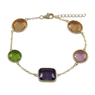Luxiro Gold Finish Multi-color Sliced Glass Geometric Bracelet