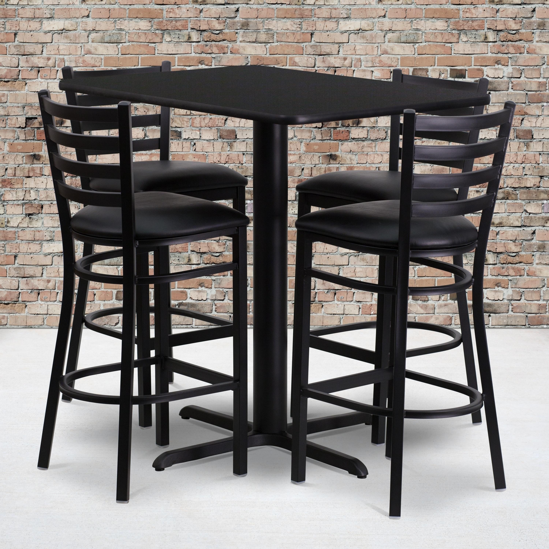 FLASH Furniture 24w x 42l Rectangular Black Laminate Tabl...