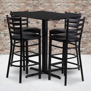 24w x 42l Rectangular Black Laminate Table Set with Four (4) Black Vinyl Seat Ladder Back Metal Bar Stools