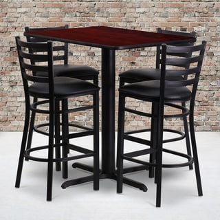 24w x 42l Rectangular Mahogany Laminate Table Set with Four (4) Black Vinyl Seat Ladder Back Metal Bar Stools