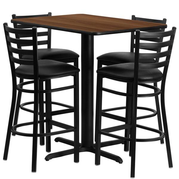 24w x 42l Rectangular Walnut Laminate Table Set with Four (4) Black Vinyl Seat Ladder Back Metal Bar Stools