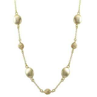 Luxiro Brushed Gold Finish Pave Cubic Zirconia Coin Necklace|https://ak1.ostkcdn.com/images/products/10426266/P17524843.jpg?impolicy=medium