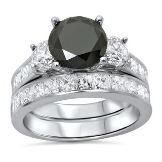 Noori 14k White Gold 3 1/2ct TDW Black Round Diamond Bridal Ring Set