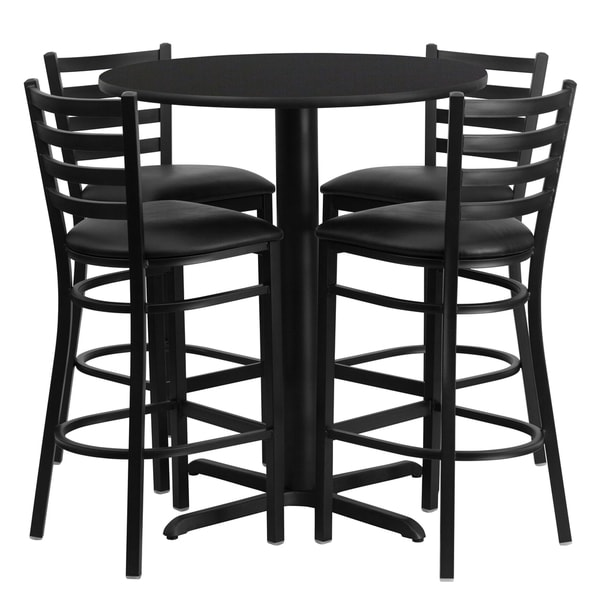 Shop 30 Inch Round Black Laminate Table Set With Four 4