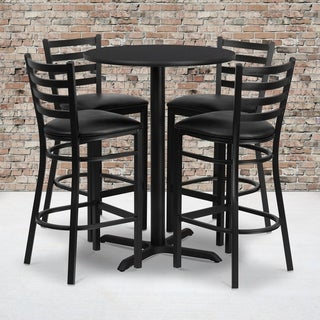 30-inch Round Black Laminate Table Set with Four (4) Black Vinyl Seat Ladder Back Metal Bar Stools