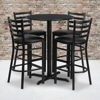 30-inch Round Black Laminate Table Set with Four (4) Black Vinyl Seat Ladder Back Metal Bar Stools