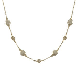 Luxiro Brushed Gold Finish Pave Cubic Zirconia Coin Necklace