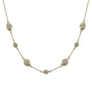 Luxiro Brushed Gold Finish Pave Cubic Zirconia Coin Necklace|https://ak1.ostkcdn.com/images/products/10426272/P17524844.jpg?impolicy=medium