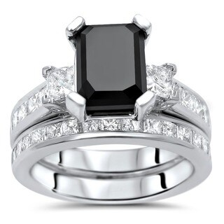 Noori 14k White Gold 4 1/10ct TDW Black Emerald Cut Diamond Bridal Ring Set