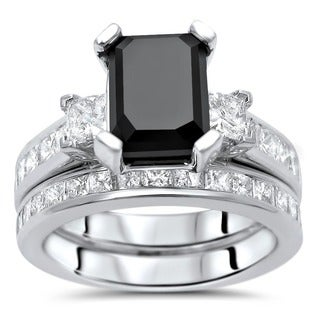 Noori 14k White Gold 4 1/10ct TDW Black Emerald Cut Diamond Bridal Ring Set (More options available)
