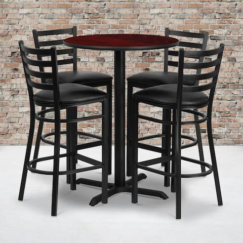 30-inch Round Mahogany Laminate Table Set with Four (4) Black Vinyl Seat Ladder Back Metal Bar Stools