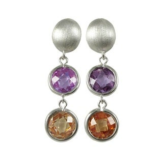 Luxiro Brushed Rhodium Finish Cubic Zirconia Circle Dangle Earrings