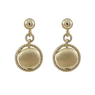 Luxiro Gold Finish Brushed Coin Circle Dangle Earrings