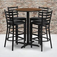 30-inch Round Walnut Laminate Table Set with Four (4) Black Vinyl Seat Ladder Back Metal Bar Stools