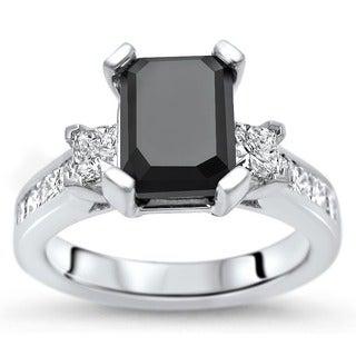 Noori 14k White Gold 3 1/5ct TDW Emerald Black Diamond Ring