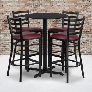 30-inch Round Black Laminate Table Set with Four (4) Burgundy Vinyl Seat Ladder Back Metal Bar Stools