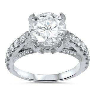 Noori 14k White Gold Moissanite and 7/8ct TDW Diamond Engagement Ring