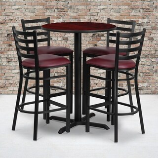 30-inch Round Mahogany Laminate Table Set with Four (4) Burgundy Vinyl Seat Ladder Back Metal Bar Stools