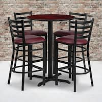 30'' Round Laminate Table Set with 4 Ladder Back Metal Barstools