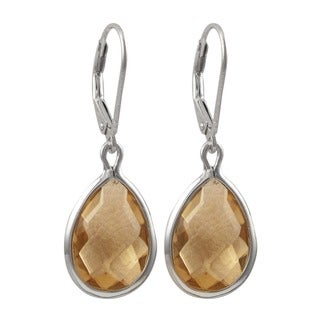 Sterling Silver Gold Finish Faceted Glass Teardrop Earrings