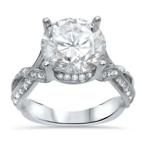 18k White Gold Moissanite and 2/5ct TDW Diamond Engagement Ring (G-H, SI1-SI2)