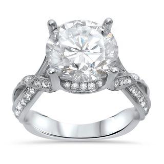Noori 18k White Gold Moissanite and 2/5ct TDW Diamond Engagement Ring (G-H, SI1-SI2)